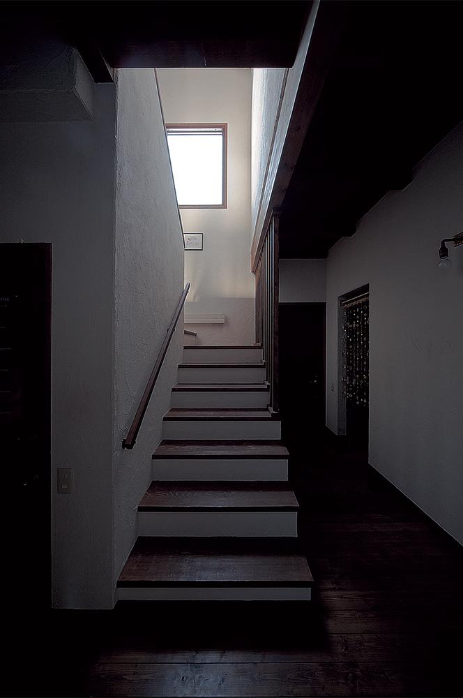 写真:ゆったりと段差の低い階段。片側には壁を設けず、踊り場からの明かりが柔らかに行き届くよう設計されている